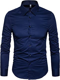 Men's Slim Fit Business Casual Cotton Long Sleeves Solid Button Down Dress Shirts
