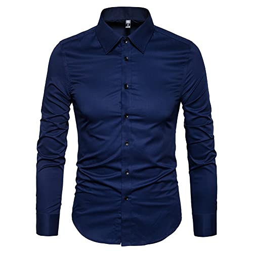 Domple Mens Buttons Long Sleeve Print Office Basic Business Dress Shirts