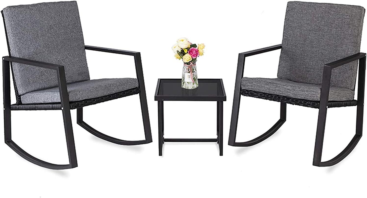 ZHOUZHONGLAN Soft Lines 3 PCS Rocking Product F Set Chairs Max 49% OFF Patio Outdoor