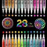 O-Kinee Rotuladores de Pintura Acrílica, 28 Rotuladores Permanentes de Colores Impermeable para Metal Huevo de Pascua Cristal Ceramica Madera Plastico Guijarros Tela