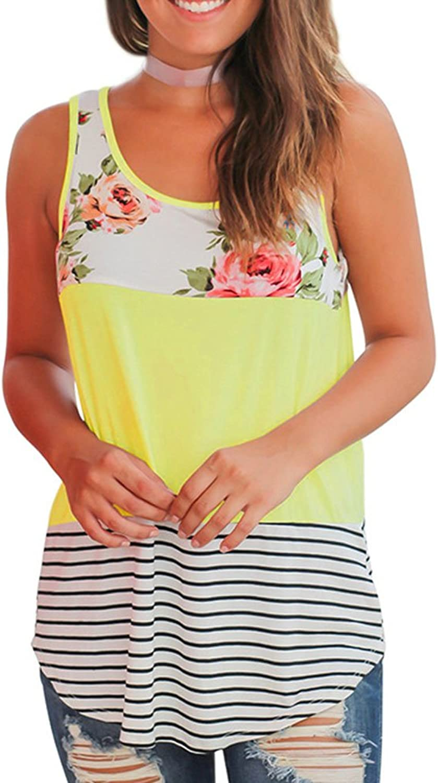 Sheup Women's Summer Sleeveless Floral Casual Tank Tops Shirts