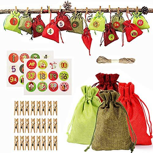 Yisscen Calendarios de adviento de Bricolaje, Bolsa de Regalo de Calendario de adviento Colgante de Cuenta Regresiva, Bolsa de Tela de Tema navideño