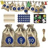 24 Calendrier de l'Avent, 24 Sacs Cadeau de Noël Kit avec 24 Etiquettes Numéro, 24 Pince...