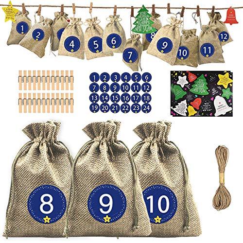 24 Calendrier de l'Avent, 24 Sacs Cadeau de Noël Kit avec 24 Etiquettes Numéro, 24 Pinces en Bois, 28 Cartes de Noël et Corde de Jute de 10 m, Sachets en Jute avec Cordon de Serrage, 10x14cm