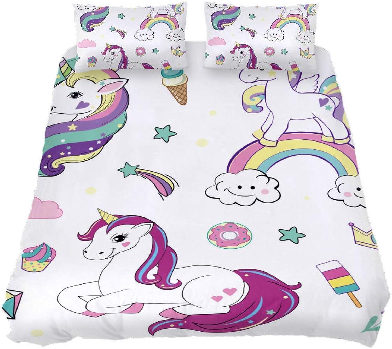 Desheze Rainbow Unicorn Wrinkle Resistant Microfiber Sheet Set 1 Duvet Set 102 x 90 inches and 2 Pillow Cases 19 x 29 inches for Kids