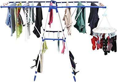Happer Premium Stainless Steel Cloth Drying Stand, Exquisite Designed, Winsome (White & Blue)