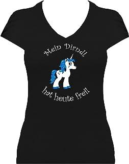 BlingelingShirts Fun Shirt Damen Oktoberfest Einhorn Shirt Mein Dirndl hat Heute frei