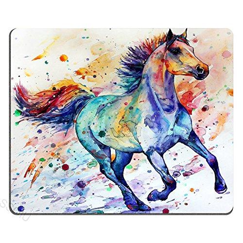 SSOIU Gaming Mouse Pad Custom Design Mat, Watercolor Running Horse Painting Art Non-Slip Rubber Large Mouse Mat