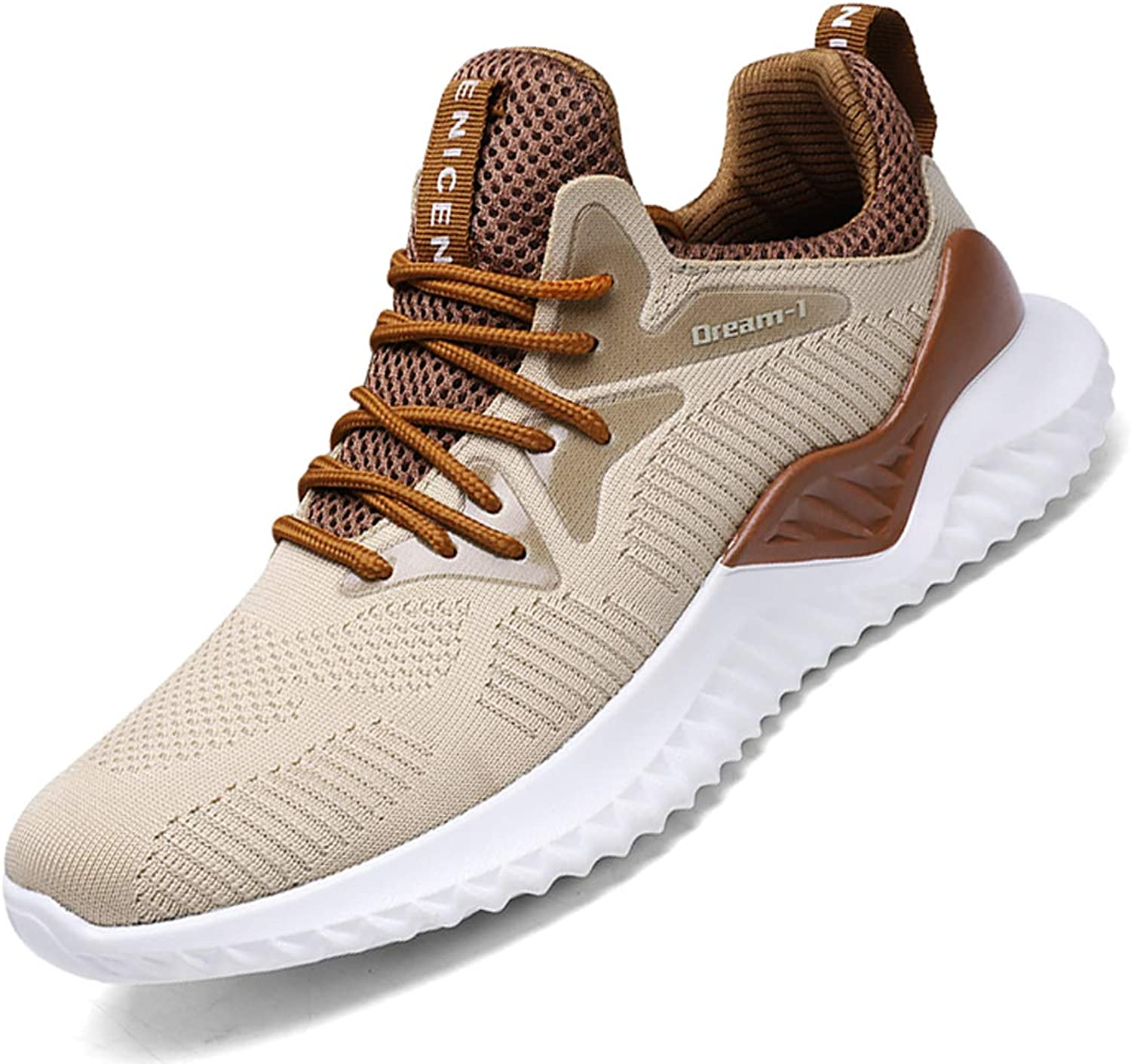 SKDOIUL Athletic Walking shoes for Men mesh Breathable Comfort Sport Trail Running shoes Youth Boys Tennis shoes Gym Workout Jogging Khaki Sneaker Size 7 (1810-khaki-40)