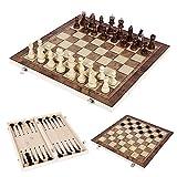 Oceanheart 3 en 1 Juego de Ajedrez de Madera Damas Plegables,Conjunto con Portátiles de Almacenamiento de ajedrez Tablero