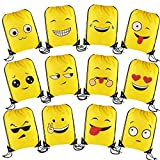 DECORA Emoji Drawstring Backpack Bags for Party Favors Supplies and Kids Gift 12 Pieces Assorted Design