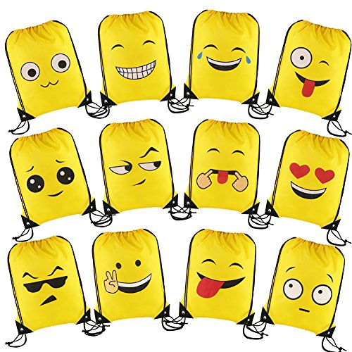 CCINEE 12 Packs Emoji Drawstring Backpack Party Bags for Kids Girls and Boys,Ideal Party Bag Fillers