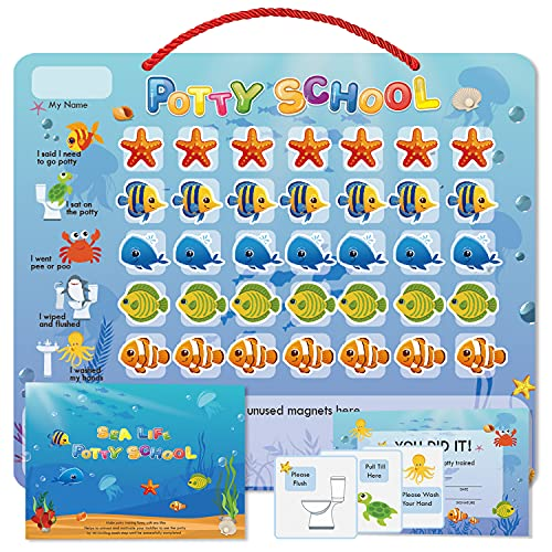 Potty Training Chart for Toddlers Waterproof Magnetic Reward Chart Motivational Toilet Training for Kid Boys & Girls -Sealifes Design - 35 Reusable Magnetic Stickers