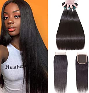 Brazilian Straight Hair Bundles With Closure (16 18 20+14) 100% Unprocessed Virgin Human Hair Extensions Double Weave Weft with 4x4 Lace Closure Free Part Natural Color