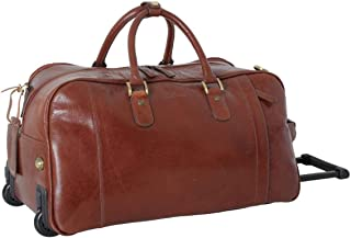 Ashwood Leather Mens Chelsea Veg Tan Albert Wheeled Travel Holdall - Chestnut
