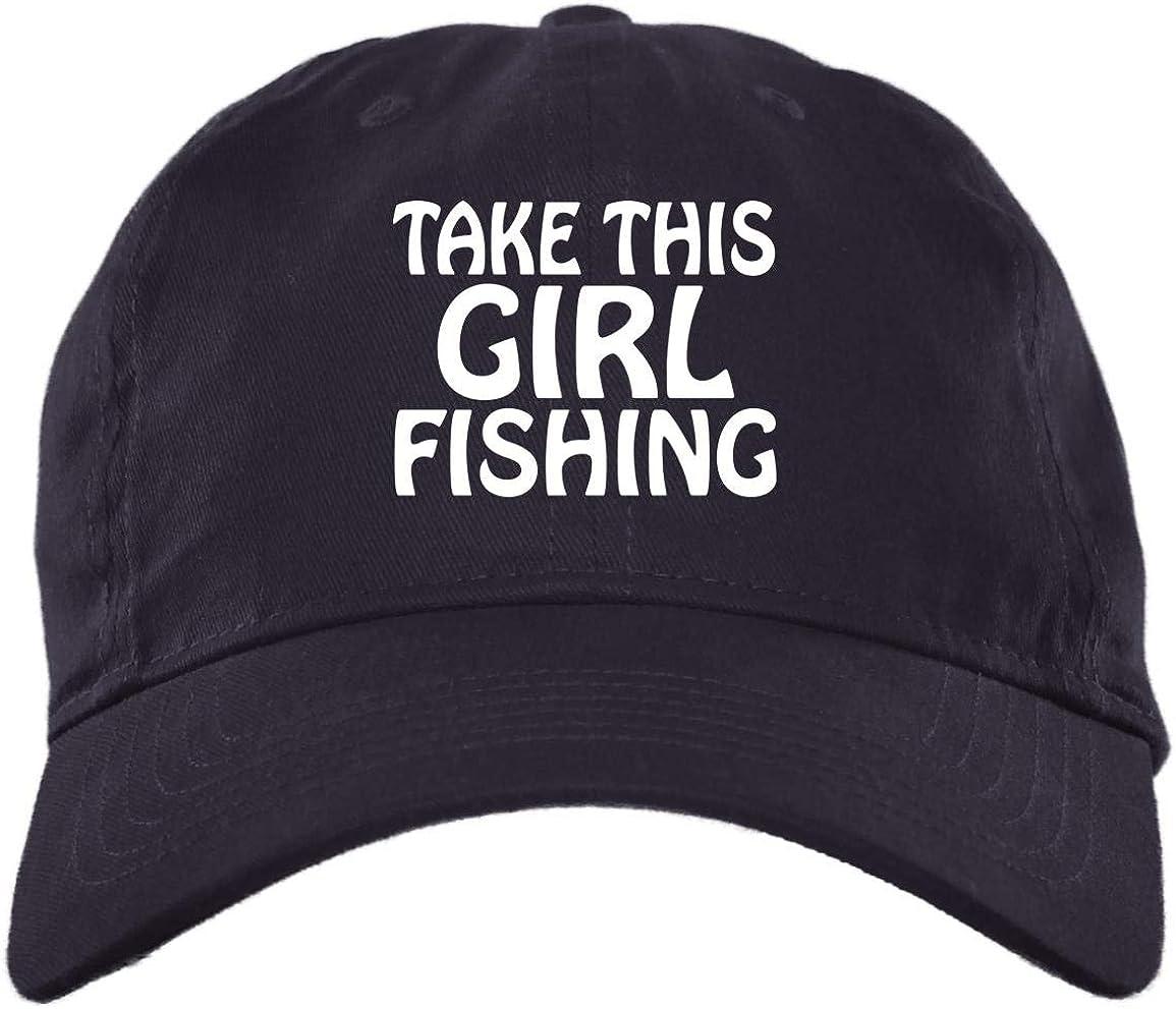 Girl Fishing Hat Take This Girl Fishing Twill Cap - High-Profile Snapback Hat - Trucker Hat