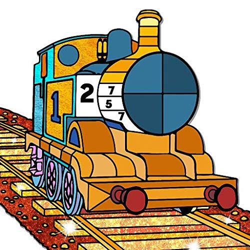 Trains Paint by Number - Vehicles Color + Glitter + Crayon + Oil Paint Coloring Pages