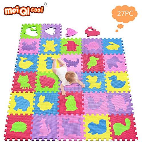 meiqicool Puzzlematte Kinderspielteppich Spielmatte Spielteppich Schaumstoffmatte Kinderteppich, Maß je Matte ca. 30 x 30cm 27 STÜCK 545556