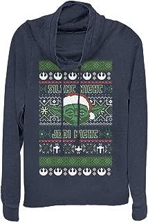 Star Wars Juniors' Ugly X-mas Sweater Yoda Night Cowl Neck Sweatshirt