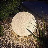 proventa® Luz aspecto piedra granito Ø35 cm IP65 incl. bombilla LED sensor. Cable 5 m co...