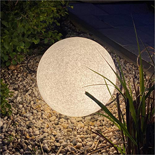 Luz LED de jardín aspecto piedra mármol natural Ø35 cm. Set 2 uds. Incluye 2 bombillas LED E27 con sensor crepuscular. Luz blanca cálida 2.700 K. Cable 2 m. con enchufe IP44. Picas incluidas