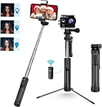 Mpow Selfie Stick Tripod, All in 1 Portable Extendable Selfie Stick with Bluetooth Remote & Fill Light, Compatible iPhone 11/11PRO/XS Max/XS/XR/X/8P/7P, Galaxy S10/S9/S8, Gopro/Small Camera, Black