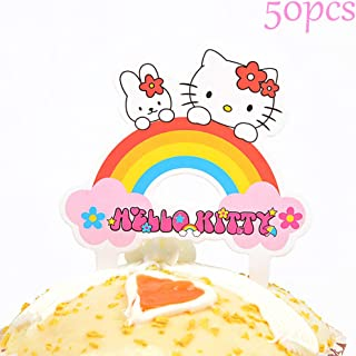 Cupcake Toppers 50PCS - Birthday Party Cupcake Decoration Cake Topper Hello Kitty Pink Cat Theme Party Decoration Supplies for Girls Baby Showers Teens Kids Men Adults