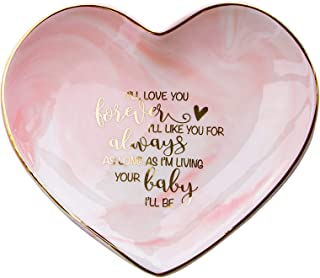 VILIGHT Moms Wedding Gift from Bride and Groom - Mother's Marble Ceramic Heart Jewelry Tray - Large Size 5.5 Inches