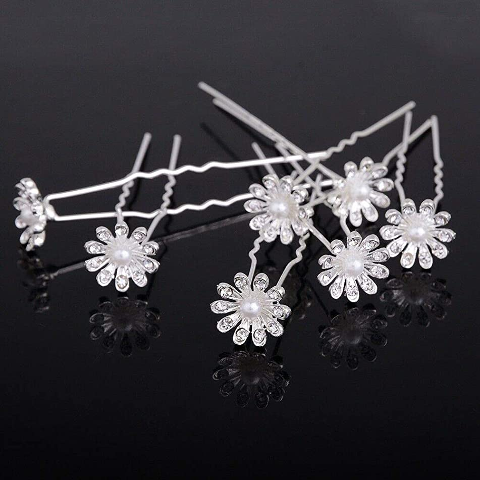Womens Girl Wedding Bridal Flower Crystal Hairpin Hair Pins Clips Lot (StyleID - #12-20pcs)