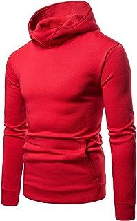 a1cd660e89 GLESTORE Sweat-Shirt à Capuche Homme Manches Longues Hiver Slim Fit Noir  Bleu Marron