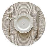 TOOGOO estera familiar estera de aislamiento de ramio de ramina alfombra mantel redondo decoracion accesorios de cocina estera de casa (beige)