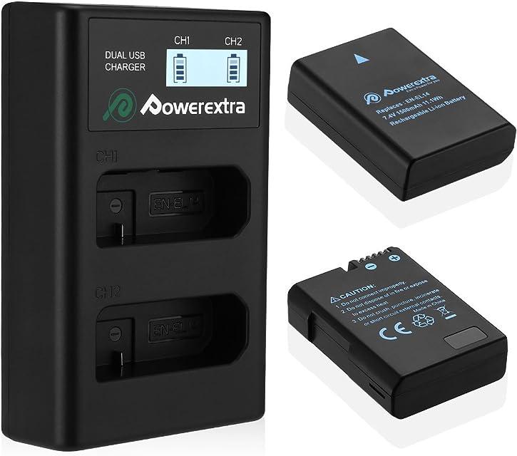 Powerextra Batería Nikon EN EL14 y EN-EL14a con Cargador Inteligente Pantalla LCD para Nikon P7000 P7100 P7700 P7800 D3100 D3200 D3300 D5100 D5200 D5300 D5500 DF Cámara