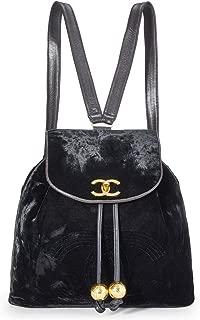 CHANEL Black Velvet 'CC' Backpack (Pre-Owned)