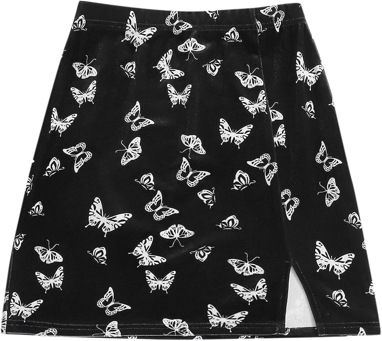 Floerns Women's Casual Graphic Print Split Hem Bodycon Mini Skirt
