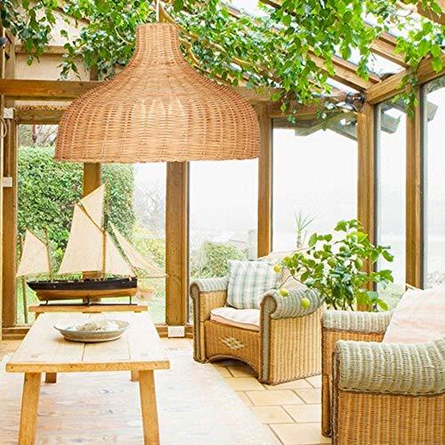 CQLAN Lámpara de araña de bambú Vintage jardín Creativo lámpara de Techo de Sombrero de Paja de bambú Pantalla de Mimbre de ratán Tropical para Sala de Estar Dormitorio Cocina café,35CM