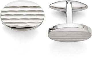 Stainless Steel Matte Oval Cufflinks Cuff Link Man Fashion Jewelry Gift for Dad Mens for Him