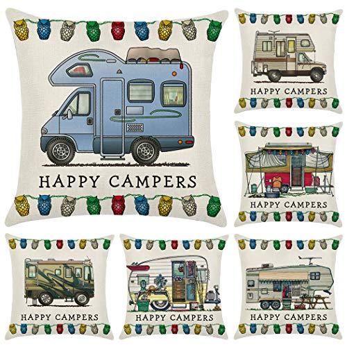 Hodeacc 6 Piezas Happy Campers Van Throw Pillow Covers Funda de cojín, Fundas de Almohada para Autocaravana, Regalo de Viaje, decoración del hogar, 18 x 18 Pulgadas, Solo Estuche