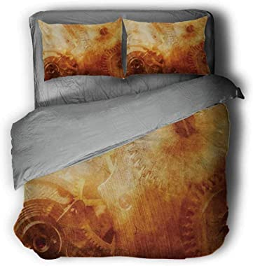 """Industrial Three-Piece Bed Background of Ancient Machinery Mechanism in Retro Colors Historical Rust Motion Gray and White Comforter 68""""x86""""inch Orange"""