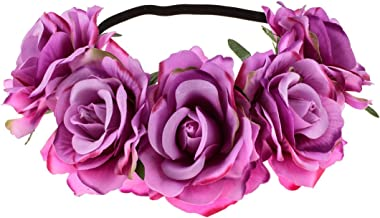 June Bloomy Rose Floral Crown Garland Flower Headband Headpiece for Wedding Festival