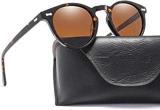 SGJFZD Men's Plate Rivet Classic Nail Sunglasses Retro Polarized Sunglasses Glasses (Color : Brown)