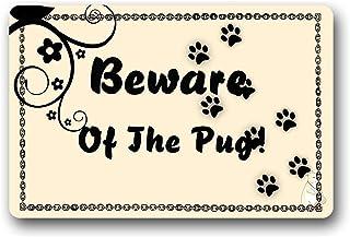 Amanda Walter ¡Cuidado con el Pug! Alfombrilla para Puerta Interior de Goma Antideslizante Alfombra de Entrada no Tejida p...