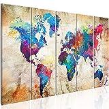 murando Cuadro en Lienzo 200x80 cm Mapamundi Impresión de 5 Piezas Material Tejido no Tejido Impresión Artística Imagen Gráfica Decoracion de Pared Mapa del Mundo Continente k-A-0179-b-o