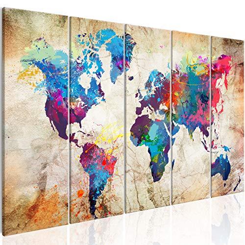 murando - Cuadro en Lienzo 200x80 cm Mapamundi Impresión de 5 Piezas Material Tejido no Tejido Impresión Artística Imagen Gráfica Decoracion de Pared Mapa del Mundo Continente k-A-0179-b-o