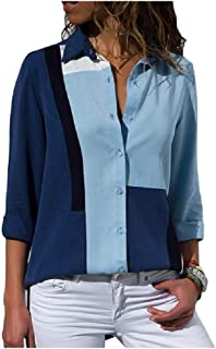 neveraway Womens Button Down Floral Print Loose Casual Colorblock Shirt Blouse