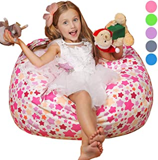 "WEKAPO Stuffed Animal Storage Bean Bag Chair for Kids | 38"" Extra Large Beanbag Cover for Girls | 48"" Quality YKK Zipper | Premium Cotton Canvas …"