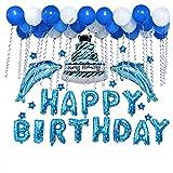 Vi.yo. Décorations d'anniversaire, avec 10 étoiles de mer, 2 Dauphins, 30 Ballons, 1 gâteau, 1 Ruban pour bébé Fille garçon Dame fête de Noël Mariage Bleu