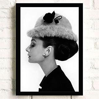 aicedu Imagenes Enmarcadas Sin Marco Moderno Minimalista Negro Blanco Audrey Hepburn Retrato Pop Película Impresión del Arte del Cartel Abstracto Cuadro De La Pared Pintura De La Lona 60X90 Cm