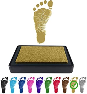 ReignDrop Ink Pad For Baby Footprint, Handprint, Create Impressive Keepsake Stamp, Non-Toxic and Acid-Free Ink, Easy To Wipe and Wash Off Skin, Smudge Proof, Long Lasting Keepsakes (Glitter Gold)