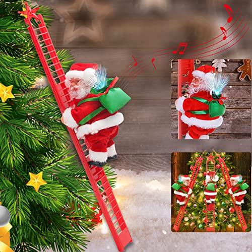 Frasheng Scala di Babbo Natale,Santa Claus Climbing Ladder,Santa Climbing Rope Ladder,Scala da Arrampicata per Babbo Natale,Babbo Natale su Scala con Musica,Regali di Natale per Bambini