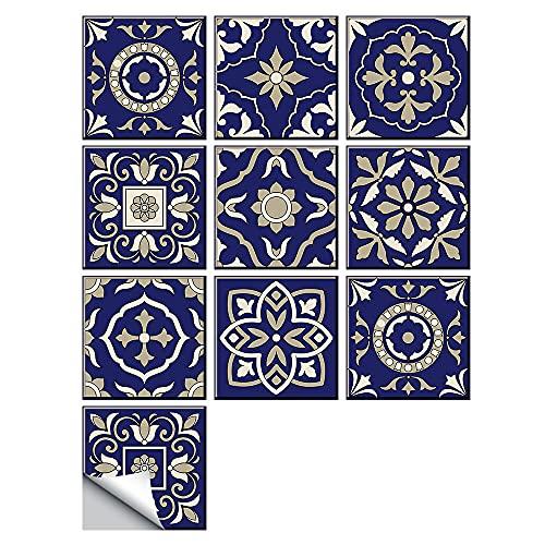 Fawyhr Azulejos duros Etiqueta engomada de la pared Cocina Backsplash Art Mural A prueba de agua Cerámica a prueba de aceite PVC 10/15/120 / 30cm Fondo de pantalla de estilo marroquí Hermosa Casa